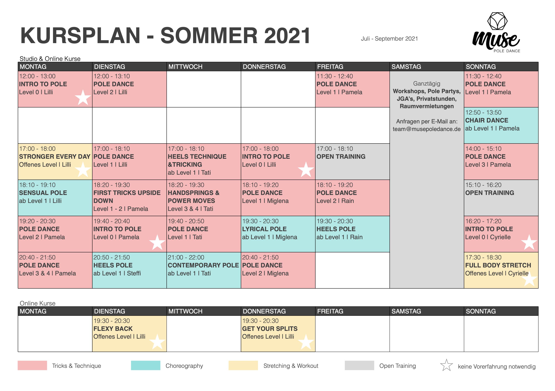 Muse Pole Dance Kursplan Sommer 2021